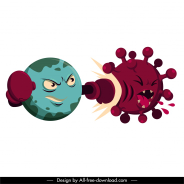 corona virus icons fighting sketch funny stylized cartoon