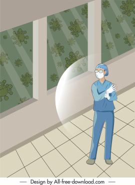 corona virus poster protected nurse viruses cartoon design