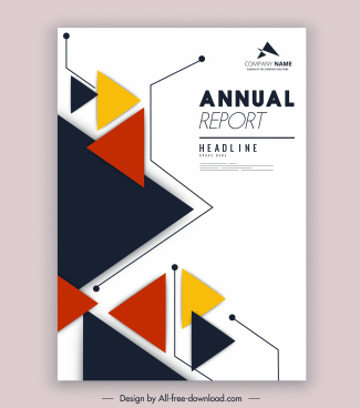 corporate annual report template colorful triangles decor