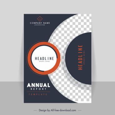 corporate annual report template elegant contrast checkered decor