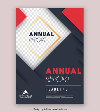 corporate annual report template elegant modern checkered layers