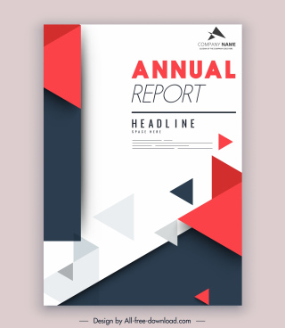 corporate annual report template modern elegant triangles decor