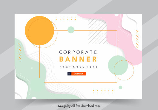 corporate banner bright colorful flat circles curves decor