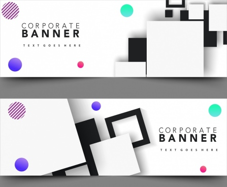 corporate banner sets modern design geometric decoration