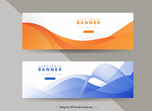 corporate banner template bright modern dynamic curves decor