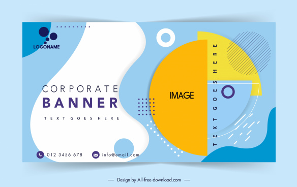 corporate banner template colorful flat decor geometric sketch