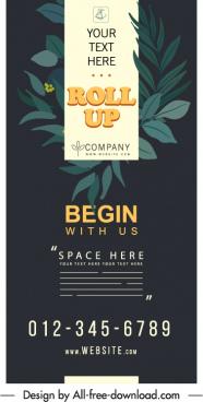 corporate banner template dark classic leaf decor