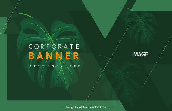 corporate banner template dark green leaves decor