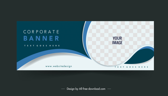 corporate banner template elegant curves checkered decor