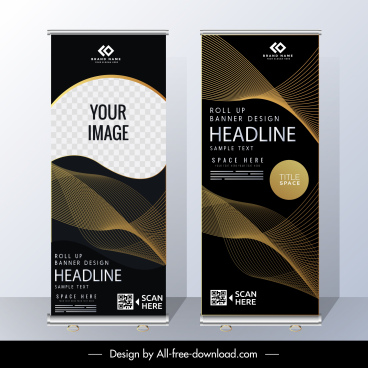 corporate banner template elegant dark modern vertical design