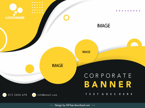 corporate banner template elegant modern circles curves decor
