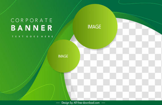 corporate banner template green circles black white checkered