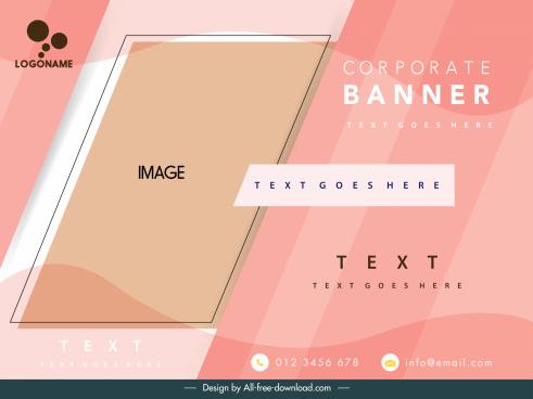 corporate banner template pink decor geometric sketch