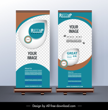 corporate banner template standee shape shiny modern decor