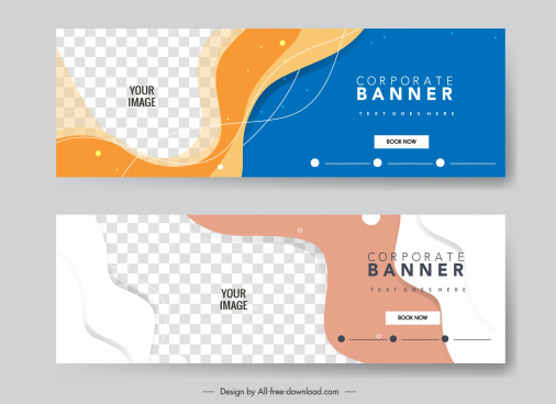 corporate banner templates abstract curves checkered decor