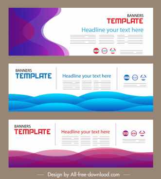 corporate banner templates bright modern colored curves decor