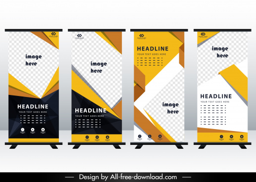 corporate banner templates checkered decor roll up shape