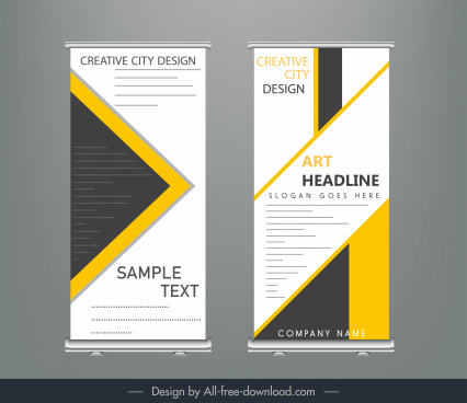 corporate banner templates colored flat modern geometric decor