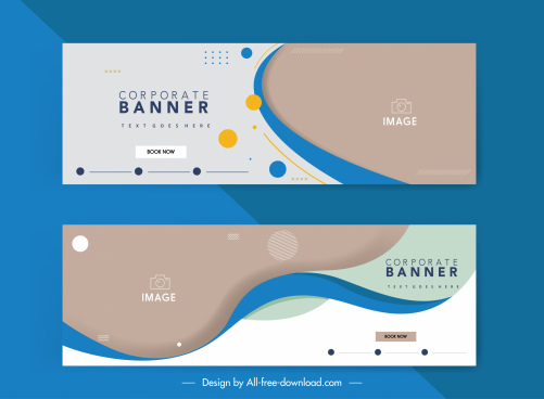 corporate banner templates colorful abstract curves decor