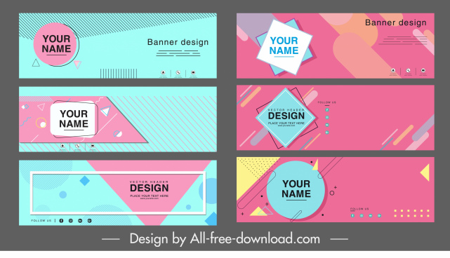 corporate banner templates colorful flat geometry horizontal design