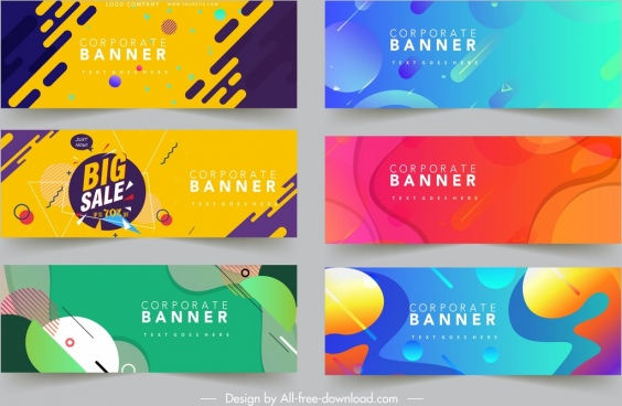 corporate banner templates colorful modern abstract decor