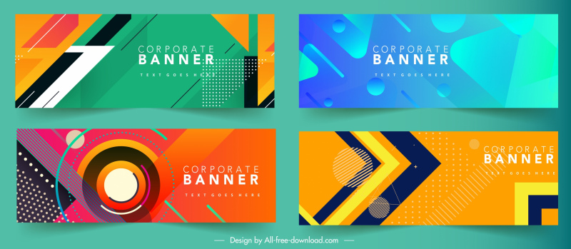 corporate banner templates colorful modern abstract design