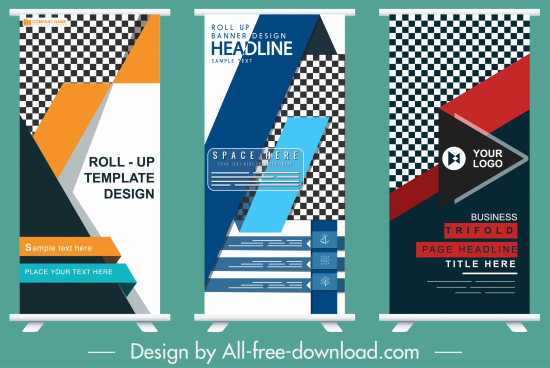 corporate banner templates colorful modern abstract roll up