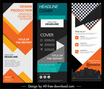 corporate banner templates colorful modern standee shape