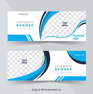 corporate banner templates elegant bright checkered curves decor