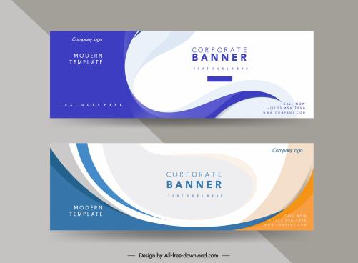 corporate banner templates elegant bright curves decor