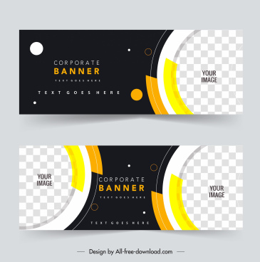 corporate banner templates elegant contrast checkered circles decor