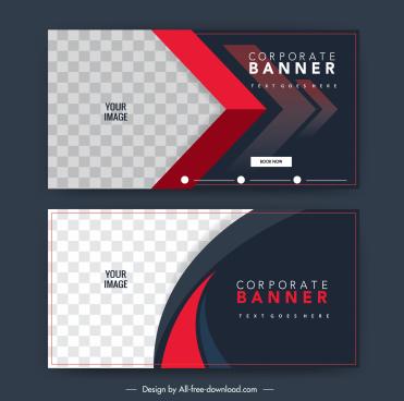 corporate banner templates elegant dark modern checkered decor
