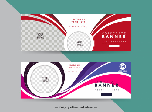 corporate banner templates elegant dynamic curves checkered decor