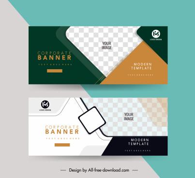 corporate banner templates elegant flat geometric checkered decor