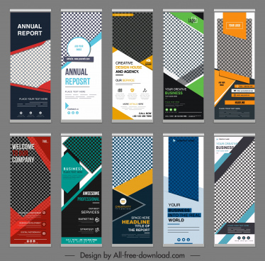 corporate banner templates elegant modern checkerd vertical shapes