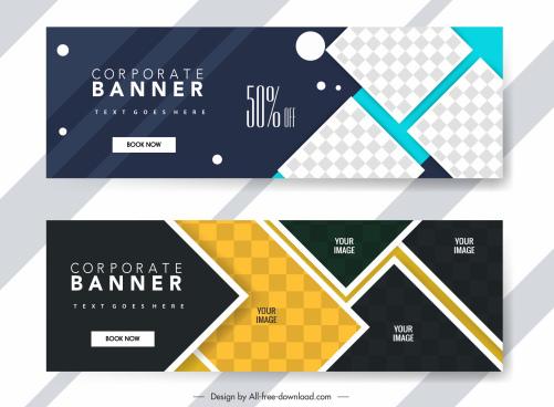 corporate banner templates elegant modern checkered geometric decor