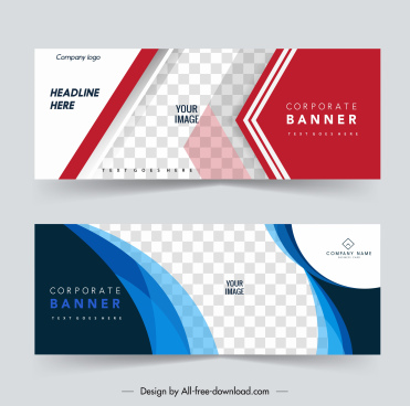 corporate banner templates elegant modern checkered geometry curves