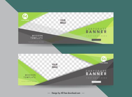 corporate banner templates geometric checkered decor horizontal design
