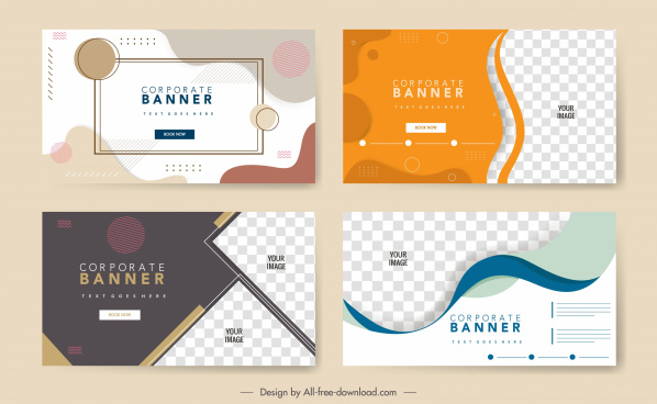 corporate banner templates modern abstract curves geometric decor