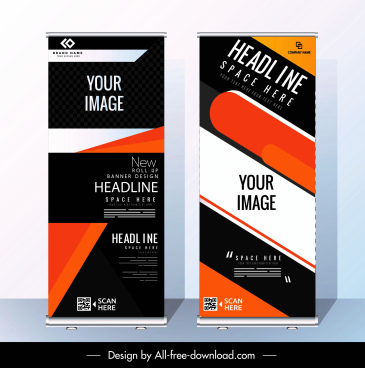 corporate banner templates modern abstract standee shape