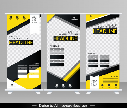 corporate banner templates modern checkered decor standee design