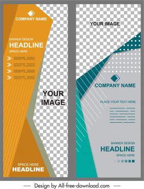 corporate banner templates modern checkered vertical standee design
