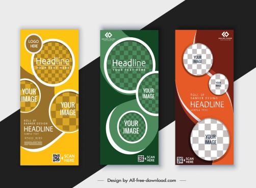corporate banner templates modern colored checkered circles decor