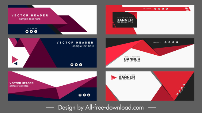 corporate banner templates modern colored geometry horizontal design