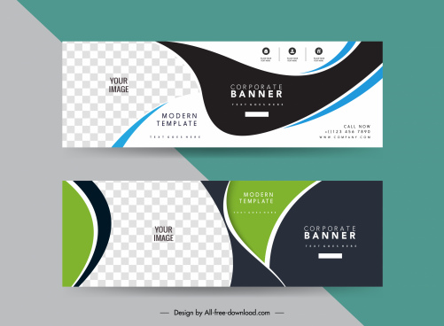 corporate banner templates modern contrast checkered curves sketch