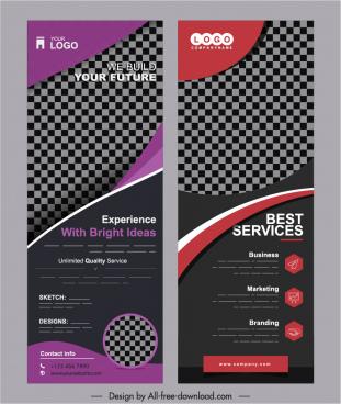 corporate banner templates modern dark checkered vertical design