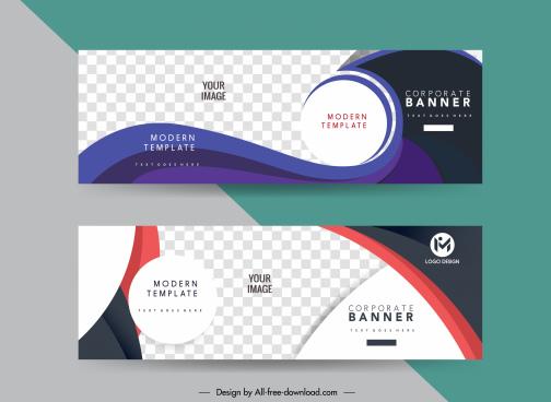 corporate banner templates modern elegant checkered curves circles