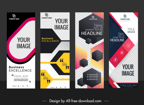 corporate banner templates modern flat technology decor