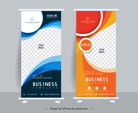corporate banner templates roll up design checkered elegance