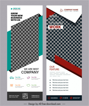 corporate banner templates roll up design elegant checkered